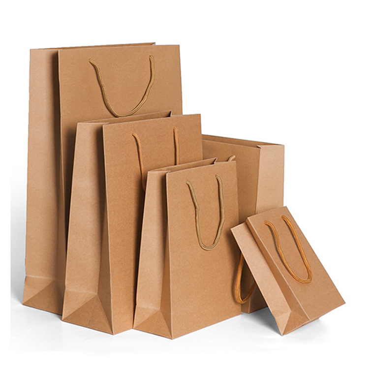 OEM Luxury wholesale packaging shopping standard paper bags printer , customized brown kraft paper bag for gift coffee