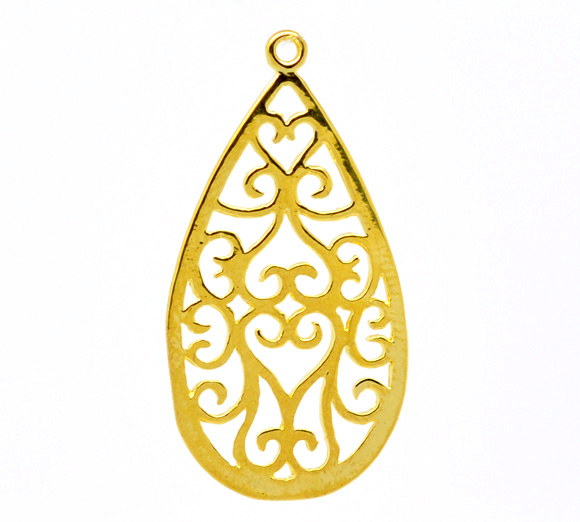 Gold Plated Teardrop Filigree Earring Pendants 28x15mm