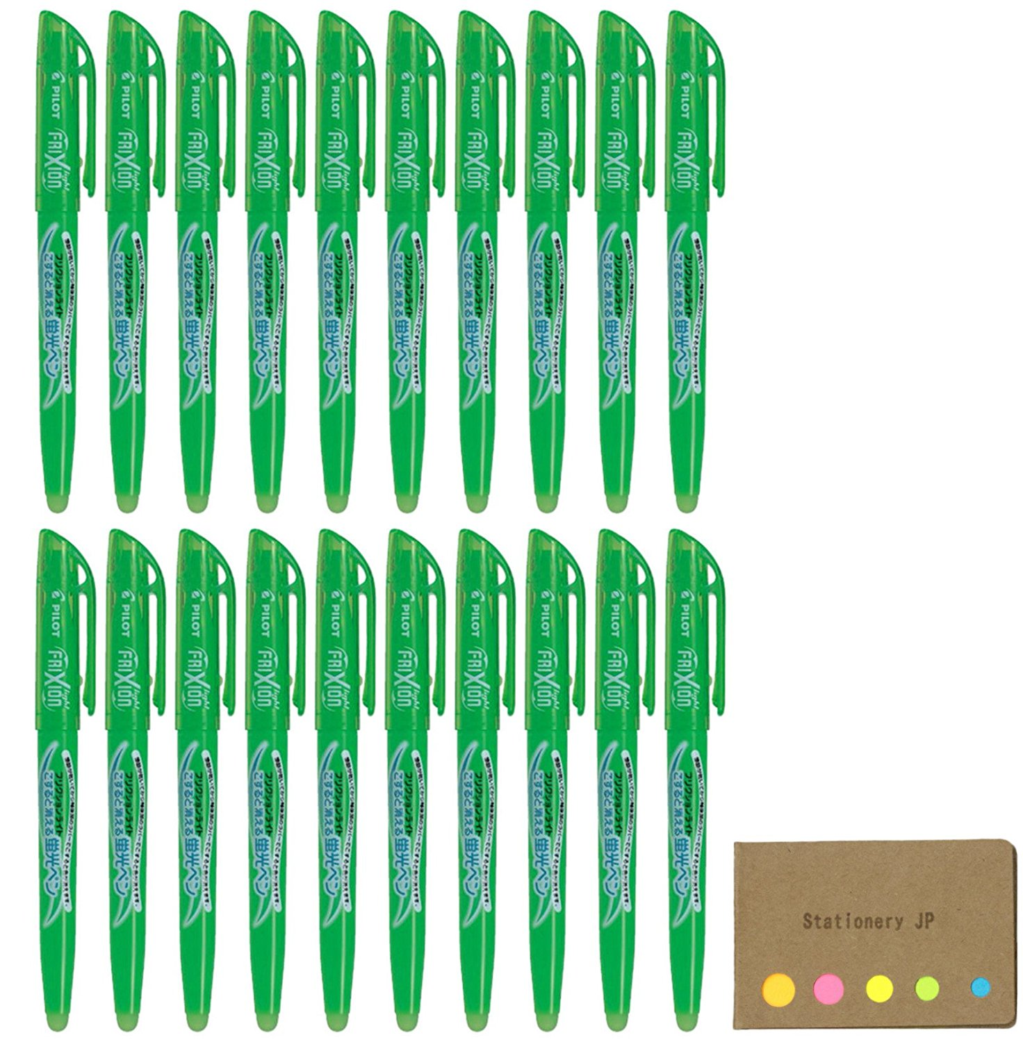 Pilot Frixion Erasable Highlighter Pen, Green Ink, 20-pack, Sticky Notes Value Set