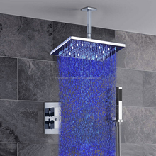 Rainfall Bath Tub Faucet Thermostatic Shower Set 8 inch Chrome Shower Head Exclusive Air Drop
