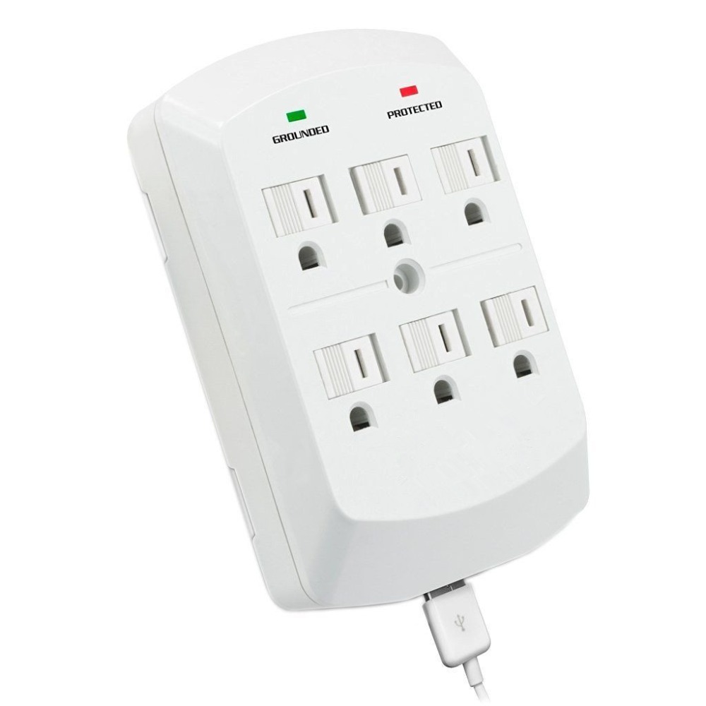 6 AC Outlet Surge Protector Wall Mount Socket with 2 USB Wall Charger 2.1A