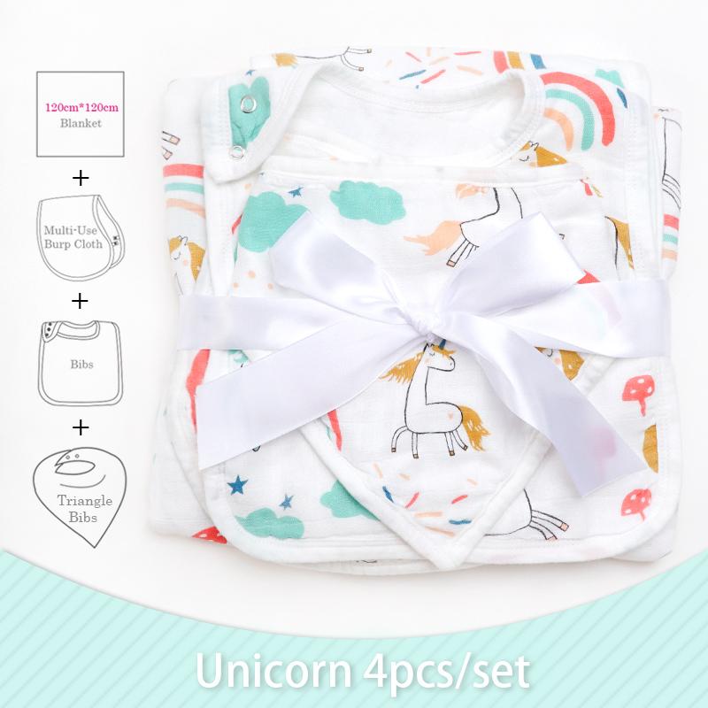 Wholesale Customized Super Soft Bamboo Cotton Milestone Baby Blanket Triangle Bibs Burp Cloth Baby Shower Gift Set