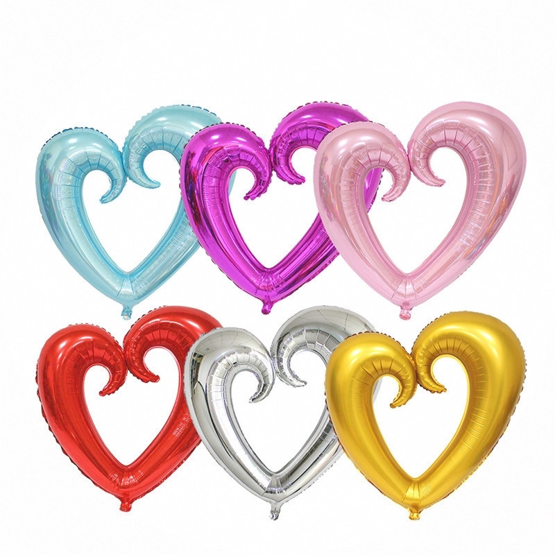 100cm*108cm Large Hook Heart Shape Foil Balloons Heart Balloon Wedding Party Decorations Marriage Balloons