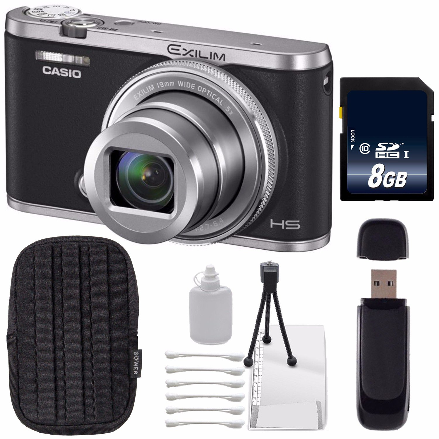Casio EXILIM EX-ZR5000 12.1MP Digital Camera (Black) + 8GB SDHC Class 10 Memory Card + SD Card USB Reader + Small Case + Deluxe Starter Kit Bundle