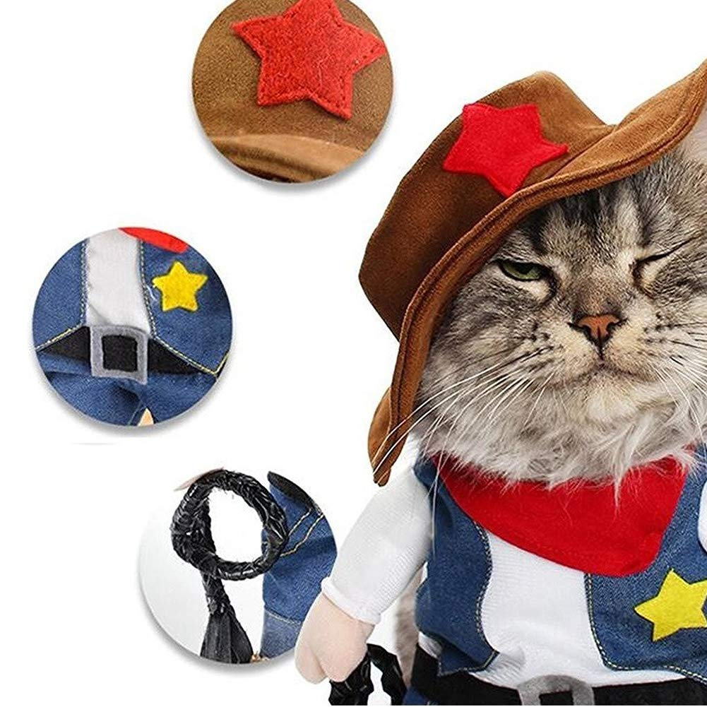 1365a083b Halloween Pet Cowboy Turned Clothes to Dress Up Straight Cats and Dogs  Clothes