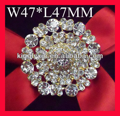 Gold Round Diamante Rhinestone brooch For chair sash