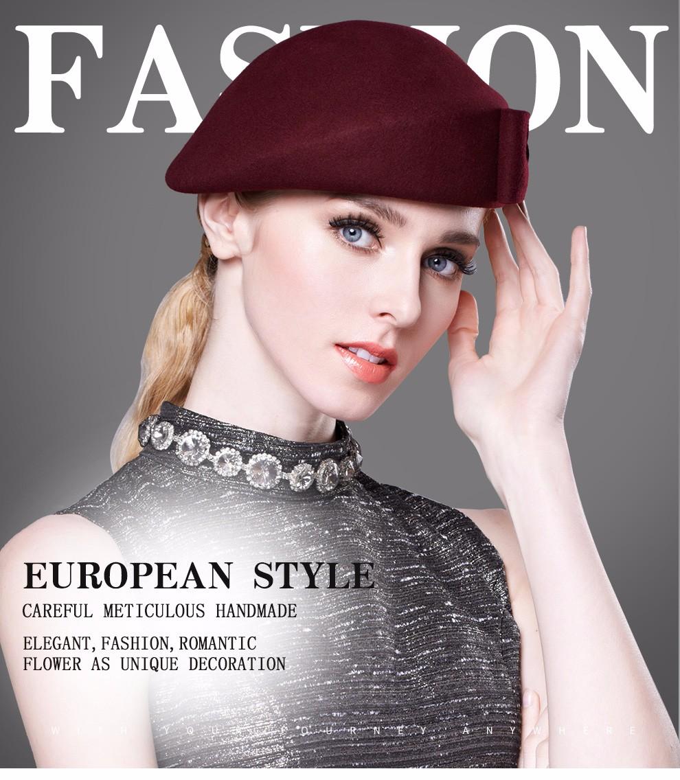 2d8f7b71b7420 Vintage Women Ladies Elegant 100% Cloche Wool Hat Red Black Beret ...