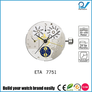 ETA Quick correction of date, day, month, and moon phases mechanical movement 7751 for watch Chronograph mechanism with cams