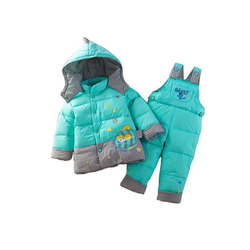 Мальчик девушка теплая зима детский зимний комбинезон пальто розничная малыш ползунки пуховик одежда комплект, дети вниз и парки подходит в течение 6-24 месяцев