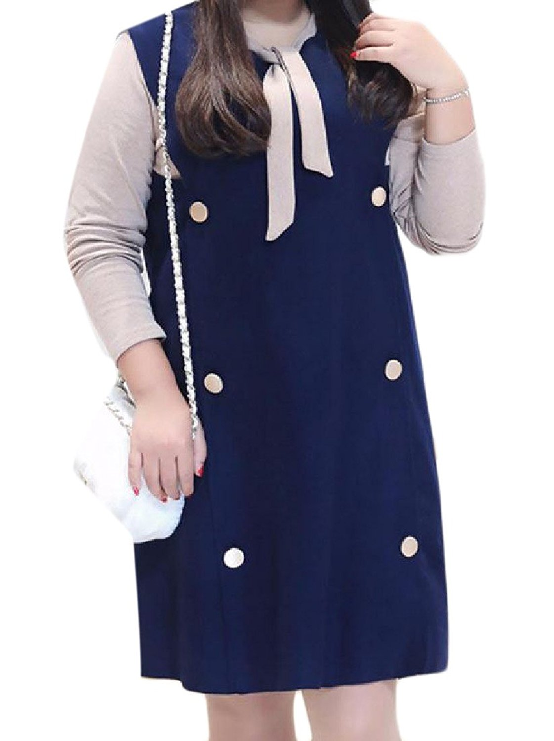 Zimaes-Women Mid Length 2-Piece Button Down Plus Size Woolen Party Dress