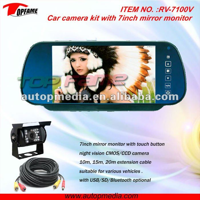 RV-7100 car reverse camera mirror Car rearview system with 7inch rear mirror monitor&backup camera