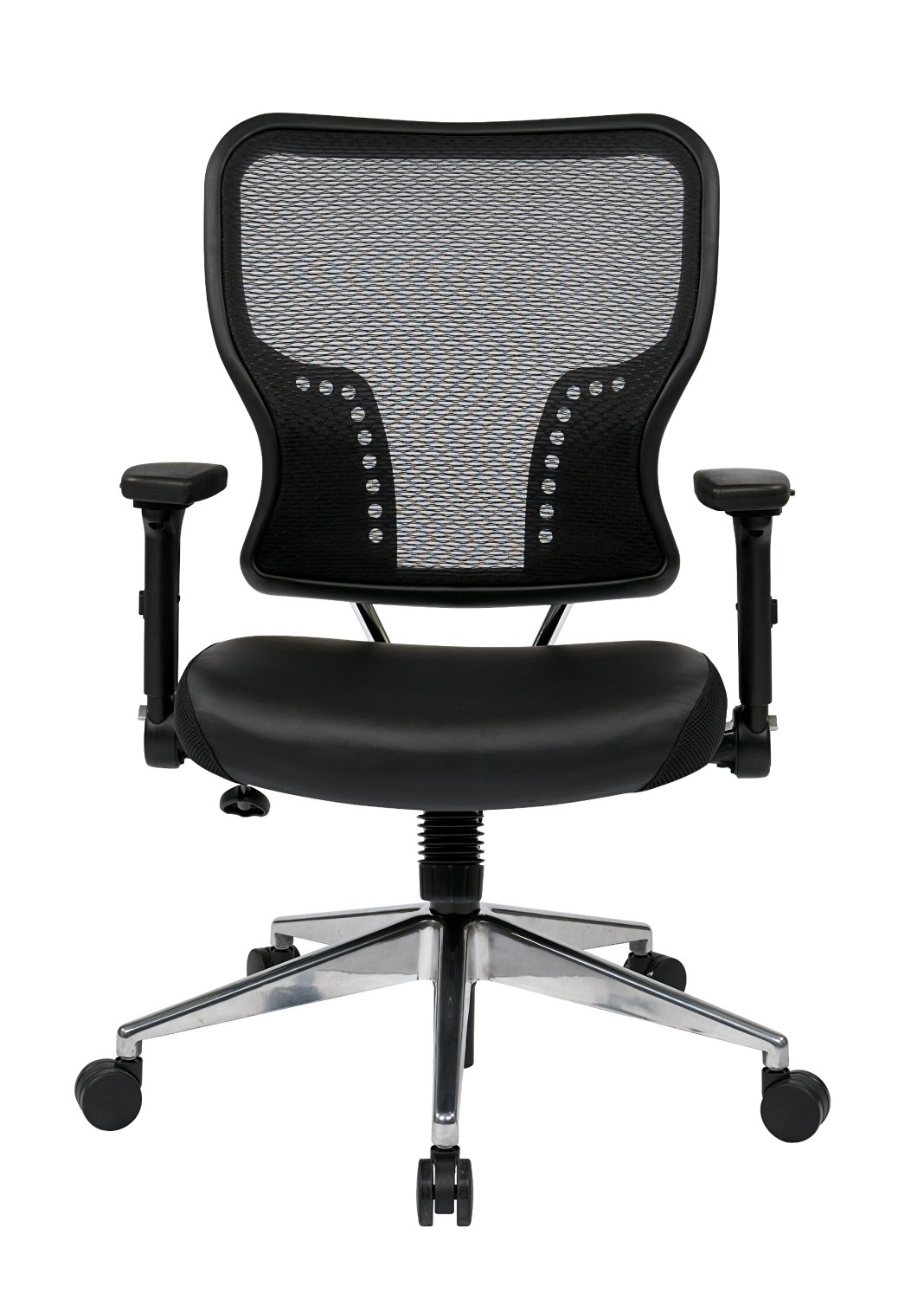 Space Seating AirGrid Back and Padded Eco Leather Seat with 4-Way Adjustable Flip Arms, Built-In Lumbar Support and Polished Aluminum Base
