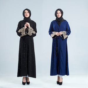 Islamic clothing 2018 chic style abaya arabic dress fashion african female clothes full bell sleeve with embroidery and pearls