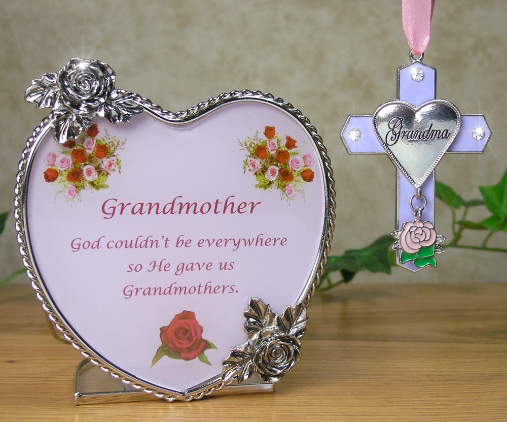 Grandma Gift Set - Candle Holder & Ornament -- Heart Shaped Glass Candle Holder with the Saying God Couldn't Be Everywhere, So He Made Grandmas -- Beautiful Metal Roses Adorn This Decorative Tea Light Holder or Votive Holder -- New Grandma Gift, Mother in Law Gift, Grandma Gift, Grandma to Be Gift