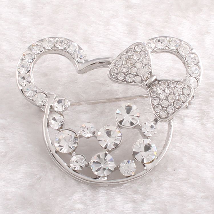 2015 Fashion bow knot diamond hollow brooch factory price