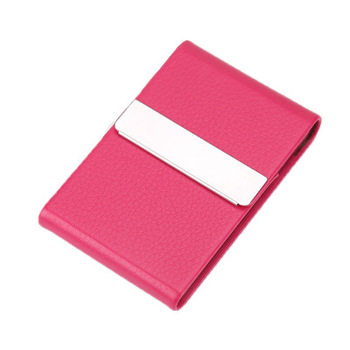 Leather Name Card Case Holder rose color for woman