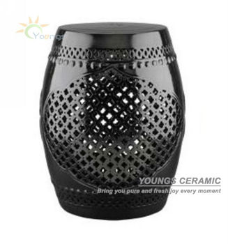 Chinese Black Lattice Ceramic Garden Stools H18inches Buy Garden