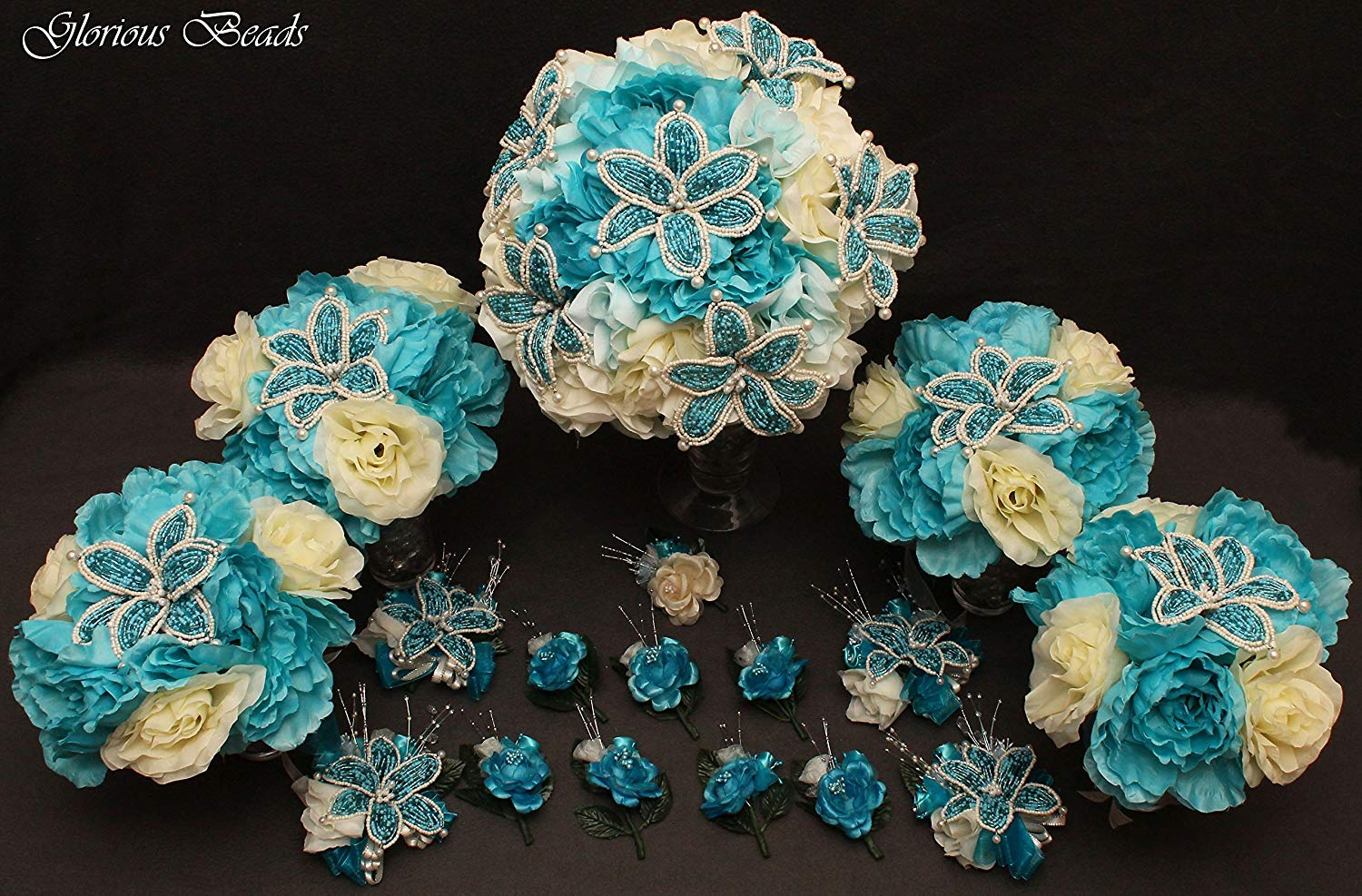 Turquoise and Ivory Beaded Lily Bridal Wedding Flower 18 piece set with Peonies and Roses~ Unique French beaded flowers. Includes Bouquets Corsages and Boutonnieres