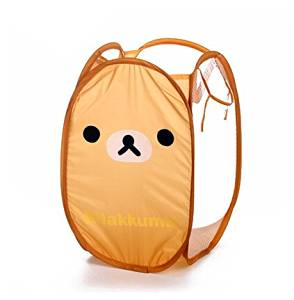 Yunko W0707 Rilakkuma Pop-open Hamper Cute San-x Rilakkuma Relax Bear Brown Foldable Laundry Basket / Storage / Bag Foldable Laundry Toys Basket Tidy Clothes Socks Storage (Rilakkuma)