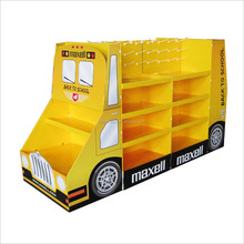 high quality school bus shape cardboard display rack clothes display stand for shop