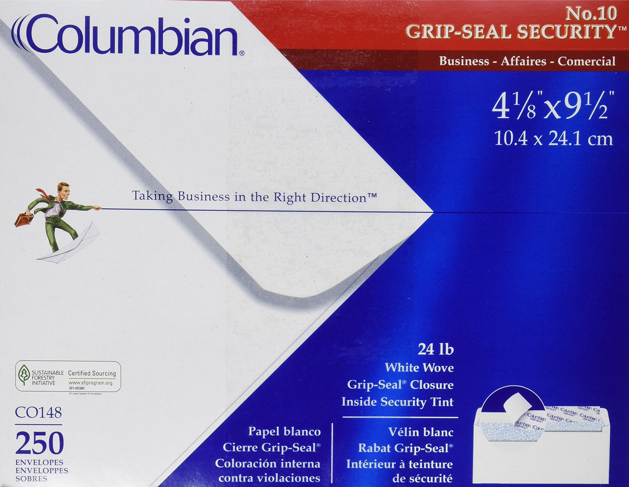 "Columbian #10 Security Tinted Envelopes, Grip-Seal, 4-1/8"" x 9-1/2"", White, 250 Per Box (CO148)"