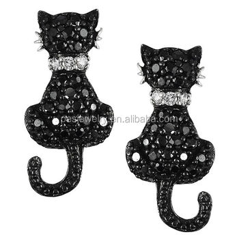 PES Fashion Jewelry! Cute Black And White Cubic Zirconia Cat Stud Small Earrings (PES9-1335)