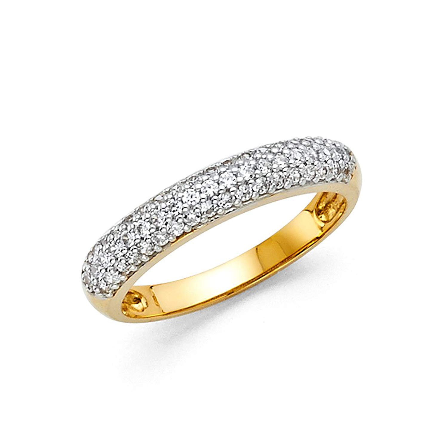 Round CZ Wedding Band 14k Yellow OR White Gold Bridal CZ Dome Band Anniversary CZ Ring Pave Set Solid