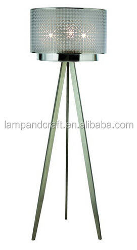 Modern Contemporary Chrome Steel Floor Lamp Tripod With Glass Lamp ...