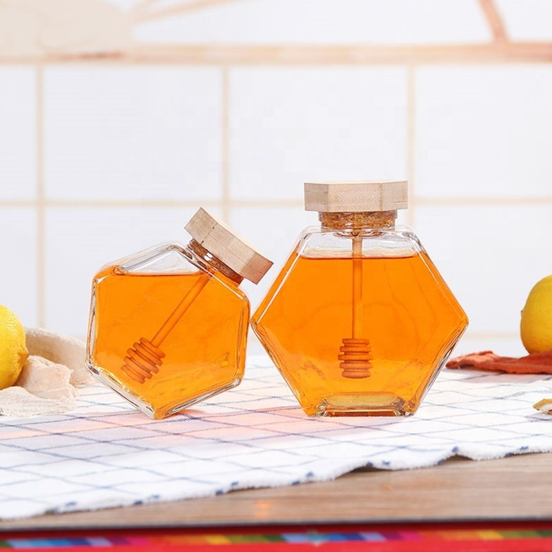 100ml 220ml 380ml Honig Glas Sechseckigen Honig Glas Mit Löffel Bee Mini Honig Topf