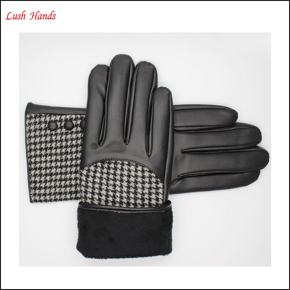 ladies fashion leather-cloth patched swallow gird gloves lined with polyester