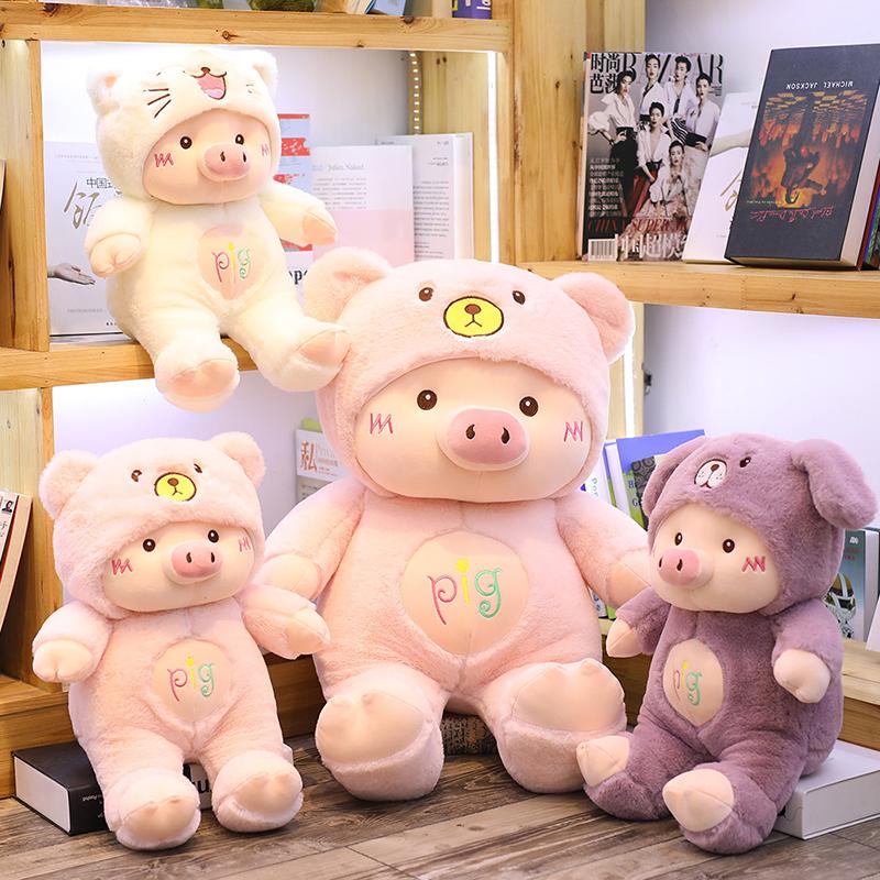 Commercio all'ingrosso sveglio del bambino maiale giocattolo farcito regalo animale di peluche maiale in vestito elastico morbido peluche maiale bambola del regalo del giocattolo