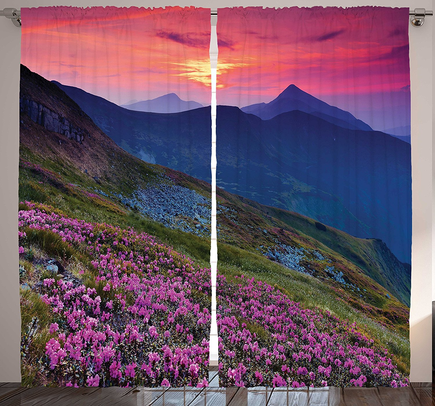 Ambesonne Nature Landscape Modern Home Decor, Mountain Sunset Purple Flowers Valley under Pink Sky View Picture, Bedroom Living Room Curtain 2 Panels Set, 108 X 84 Inches, Red Blue Green Purple