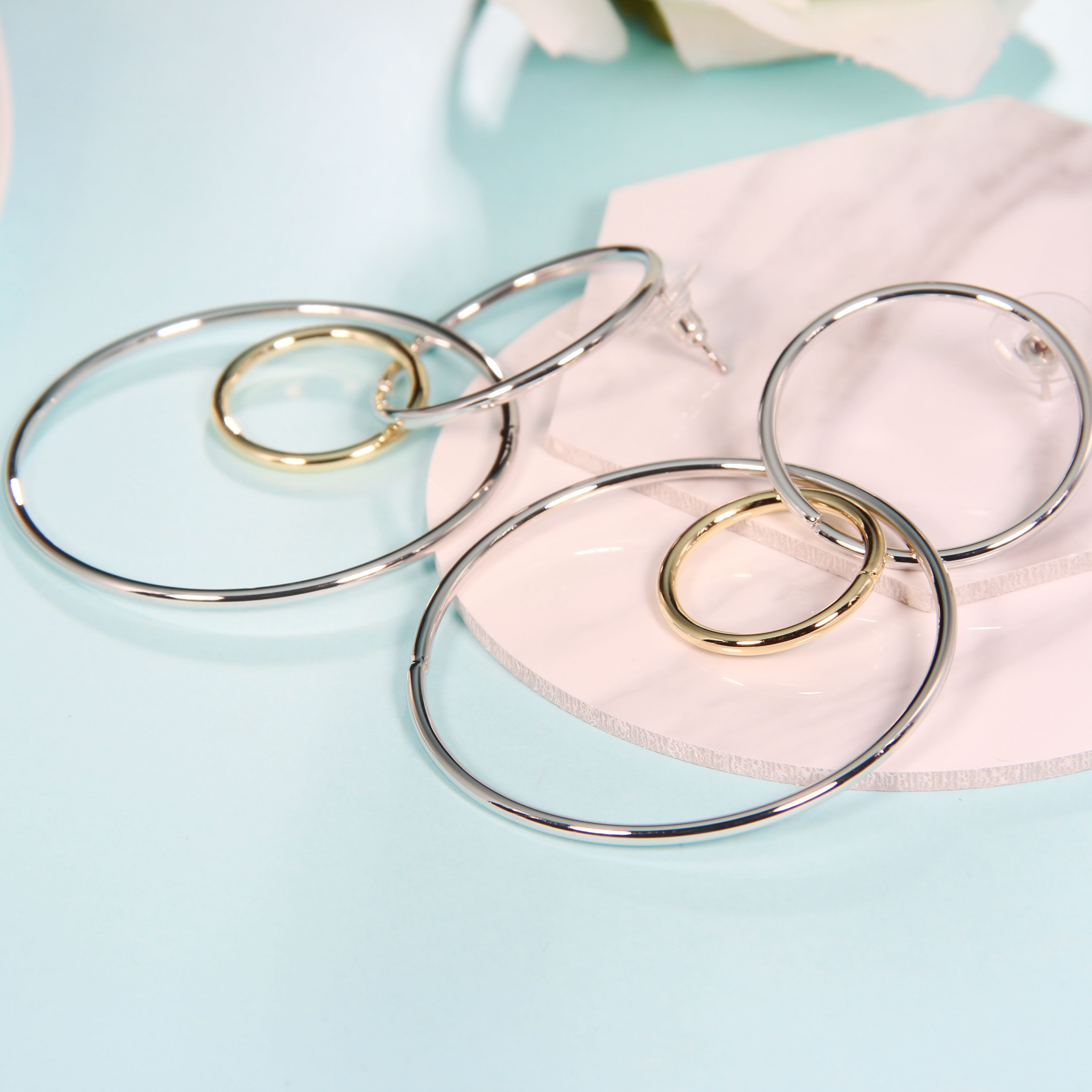 High Quality Fashion Women Jewelry Three Circle Copper Earrings Hoops