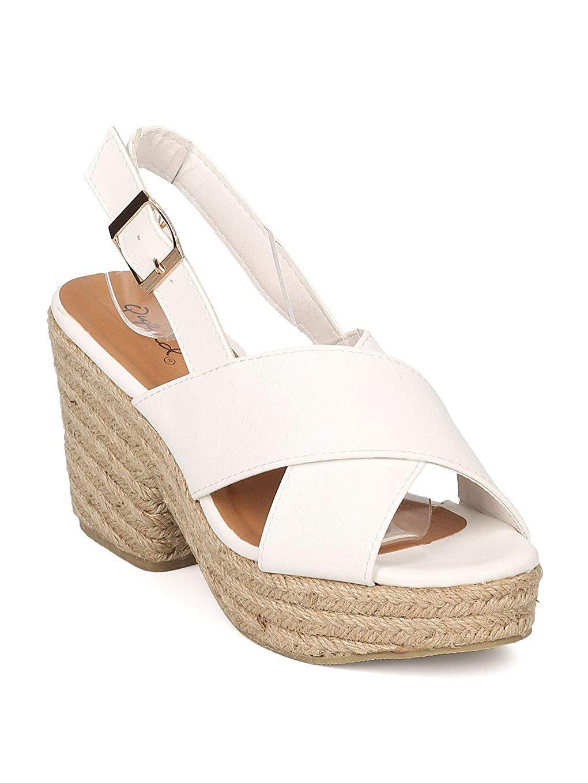 3a247f1d77f Get Quotations · Qupid Women Leatherette Slingback Espadrille Platform  Chunky Heel Sandal GE13