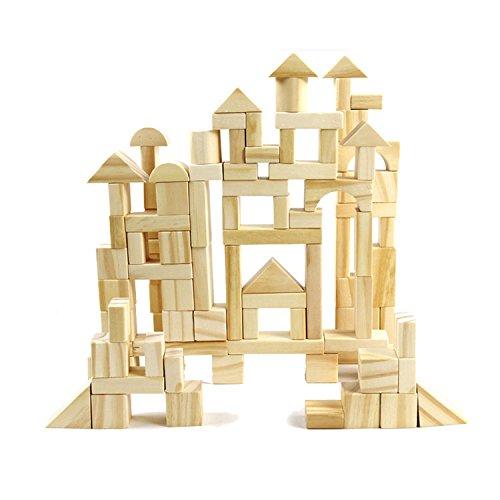 Vidatoy 100 Pcs Natural Colored Wood Building Blocks Set With Storage Bucket