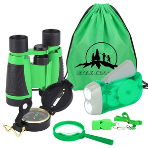 Toy Binoculars, Flashlight, Compass, Whistle, Magnifying Glass Adventure Educational Gift Set Kid Outdoor Explorer Kit