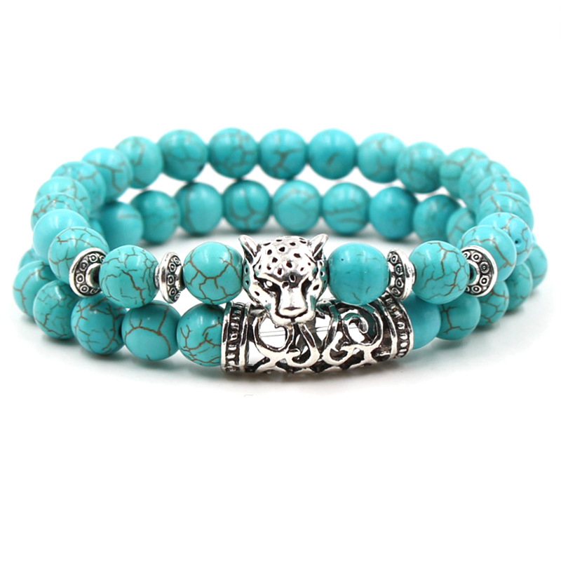 Natural Jewelry 2pcs Green Turquoise Silver Paw Buddha Charms Bead Bracelets Sets