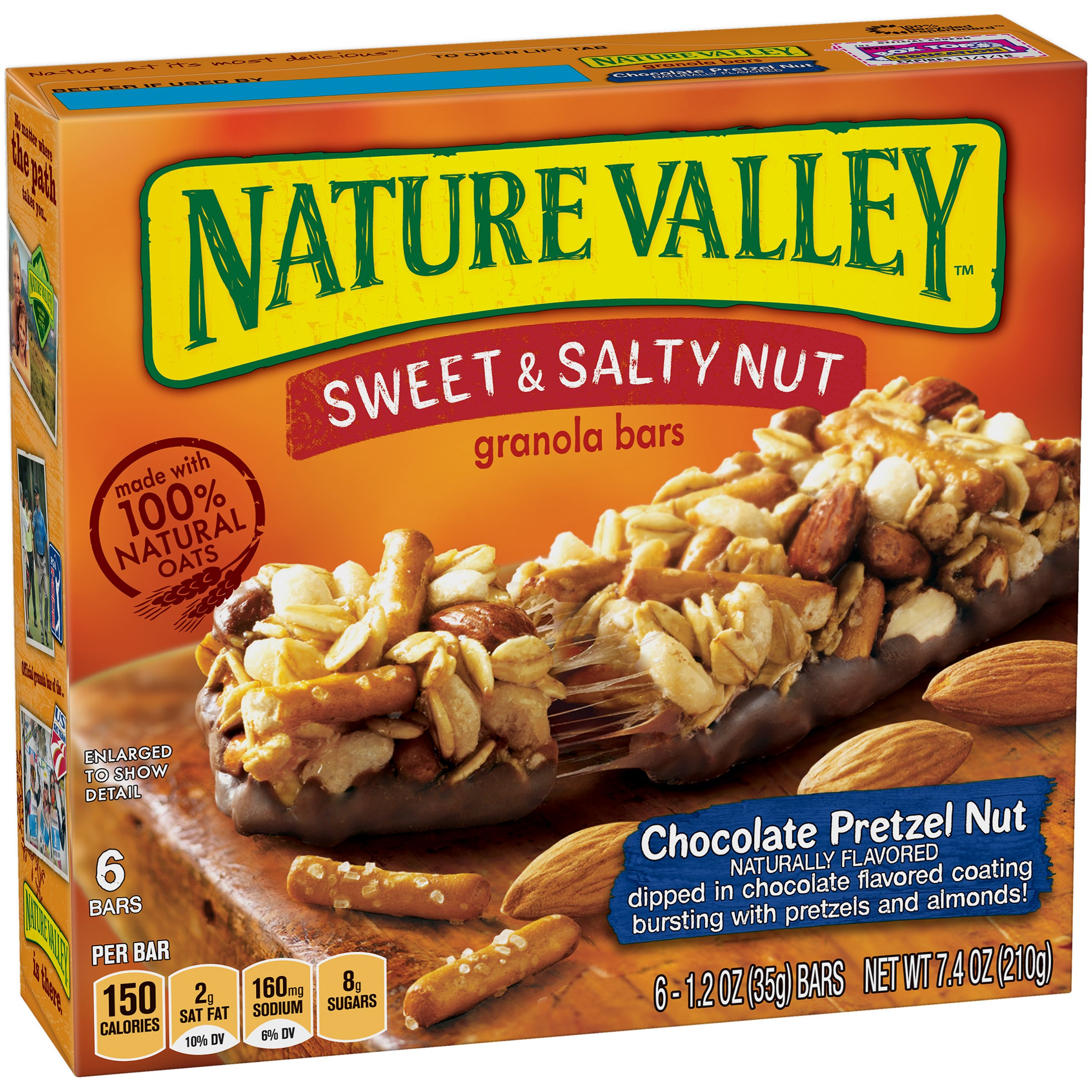 Nature Valley Granola Bars, Sweet and Salty Nut, Chocolate Pretzel Nut, 6 Bars - 1.2 oz