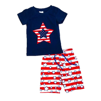 4th of July baby boys boutique Child wear cotton summer tshirt and star stripe shorts patriotic clothing Kids clothes Set