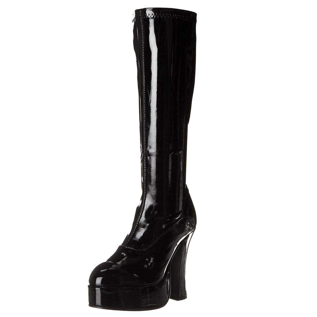 9a2f23f03473a Get Quotations · 5 Inch Sexy Platform Boots Knee Highs Chunky Heel Black  Red White