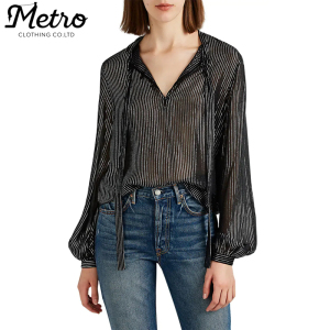 Plus Size Shirts Women Striped Silk Tieneck Chiffon Blouse