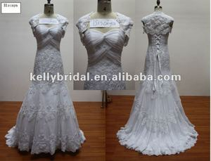 Factory Real-Made soft lace complex design fish tail skirt lace up back wedding gown 2013