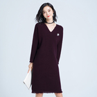 New Autumn Mid-long Large Size Loose Dress Skirt Long Sleeve Knitted Sweater Dress