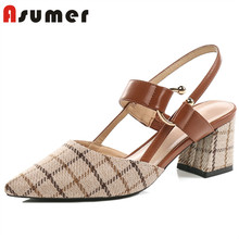 Asumer genuine leather women metal button high heel lady shoes