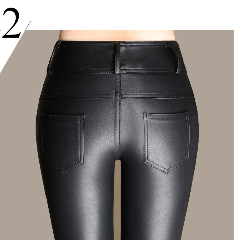 Women Stretch Leather Pants Geekymeeky