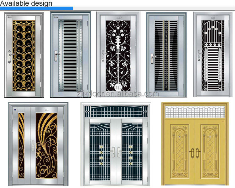 Stainless steel double swing glass safetysecurity door grill design