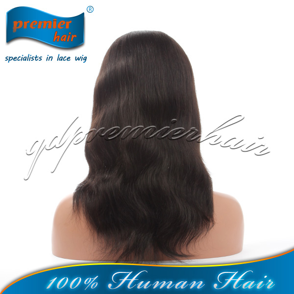 2014 premier wigs Most popular products hot sale unprocessed virgin brazilian human hair ponytail lace front wig for black women