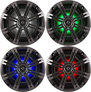 "1- Pair (2-Speakers) Kicker 6.5"" 195W LED Marine Audio Coaxial Stereo Multi Color LED Lights, Charcoal Grills"