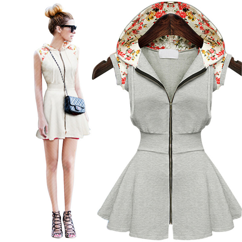 2ed7596dde New 2015 Summer Style Hooded Summer Dress Plus Size Women Dress Print  Floral Vestidos Zipper Pleated Dresses Gray Sundress S-XL