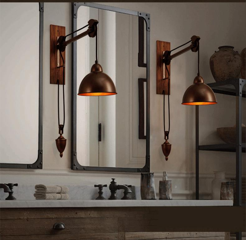 Vintage Industrial Shop Light: Aliexpress.com : Buy Bar Rustic Spindle Pulley Wall Lamp